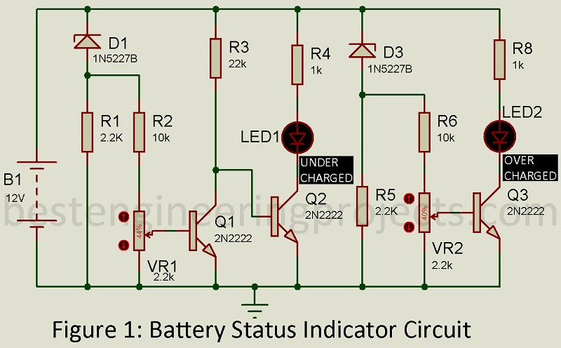 circuit diagram of battery state indicator