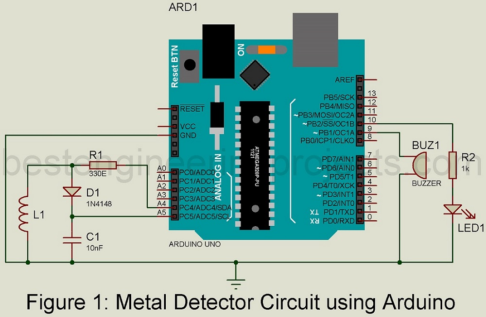 Metal Detector Circuit using Arduino