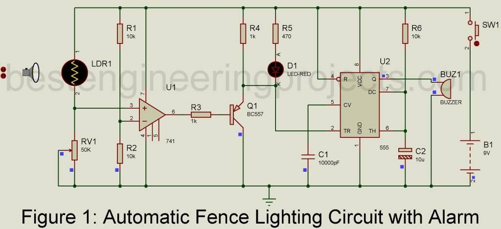 automatic fence lighting circuit with alarm