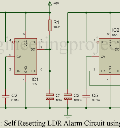 self resetting ldr alarm using timer ic 555 engineering projects burglar preventer alarm using ic 555 circuit schematic diagram [ 1900 x 1050 Pixel ]
