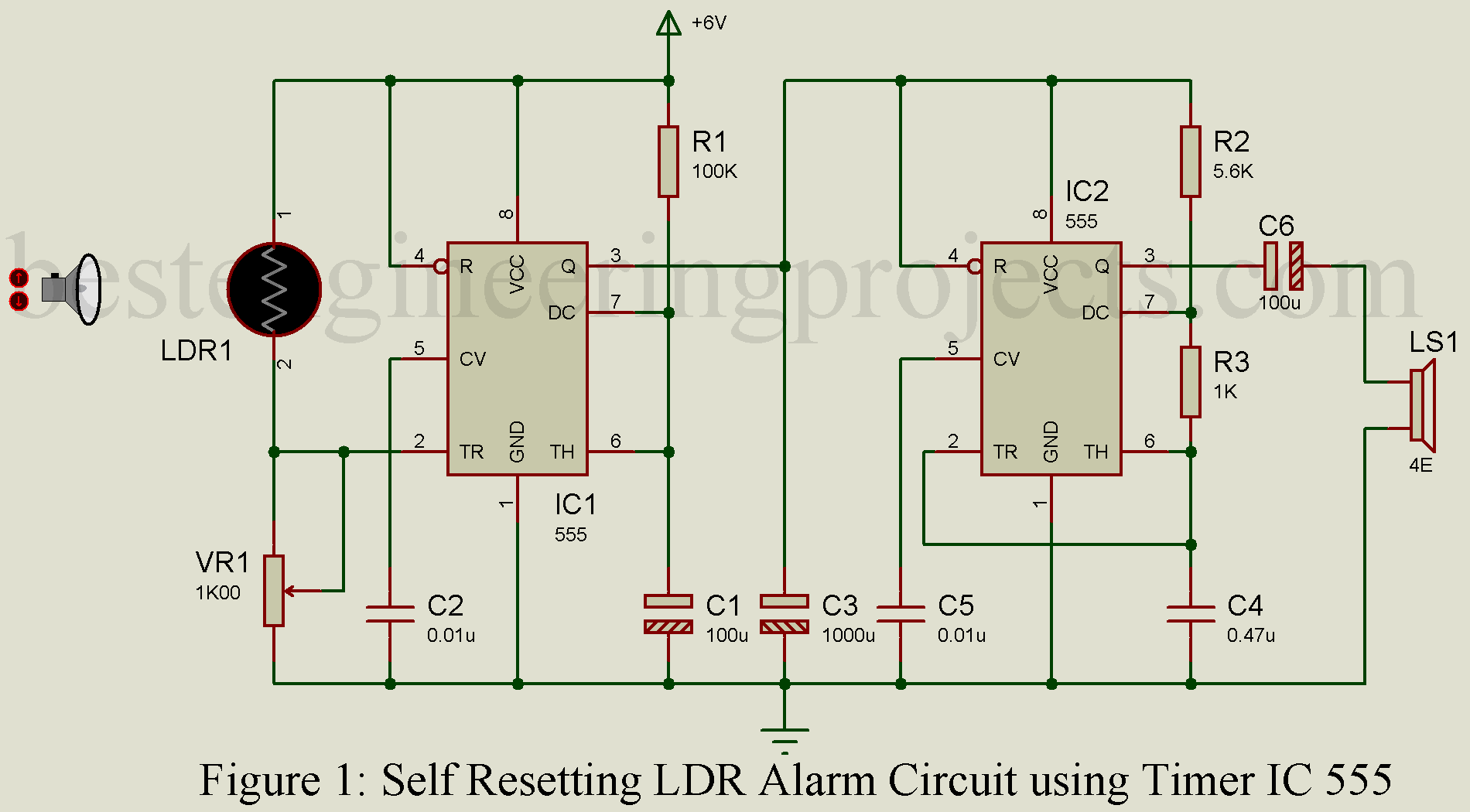 hight resolution of self resetting ldr alarm using timer ic 555 engineering projects burglar preventer alarm using ic 555 circuit schematic diagram