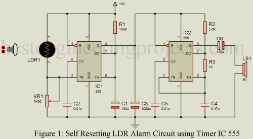 small resolution of self resetting ldr alarm using timer ic 555 engineering projects burglar preventer alarm using ic 555 circuit schematic diagram