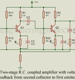 the collector of the second stage is connected to the emitter of the first stage through a voltage divider network r1 r2  [ 1648 x 1134 Pixel ]