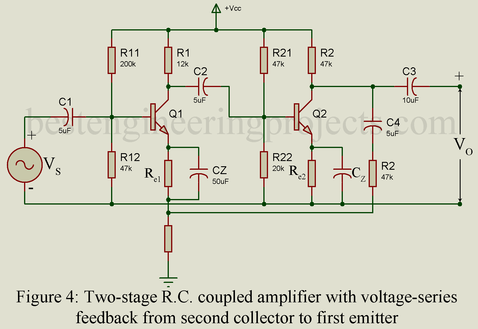 hight resolution of the collector of the second stage is connected to the emitter of the first stage through a voltage divider network r1 r2