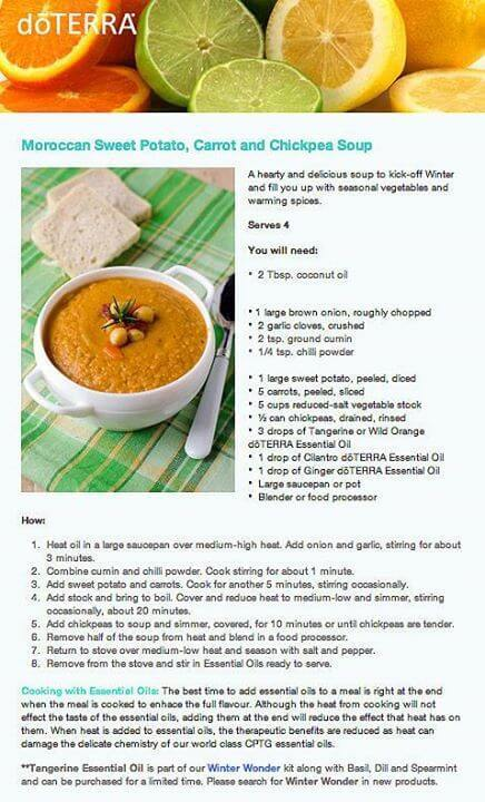 doTERRA Moroccan Carrot and Chickpea Soup Recipe