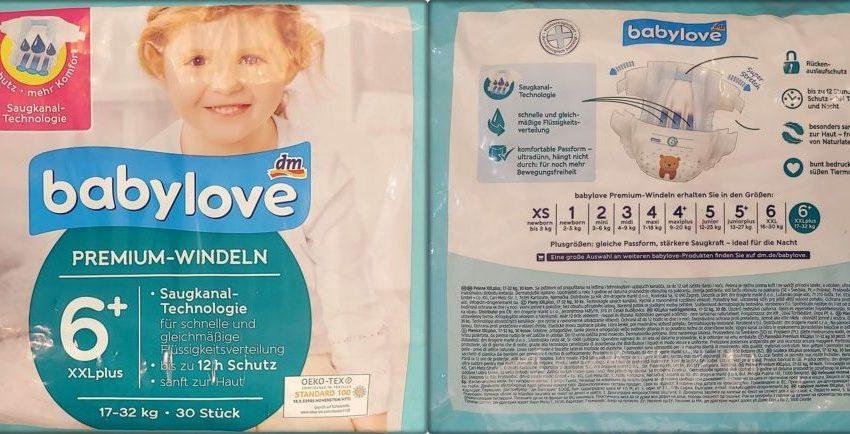 Einzelpack Vorder- und Rückseite der Babylove Premium Windeln Größe 6 XXL plus