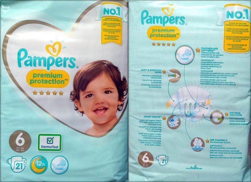 Einzelpack Vorder- und Rückseite der Pampers premium protection Größe 6