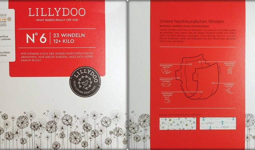 Einzelpack Vorder- und Rückseite der Lillydoo Windeln Größe 6