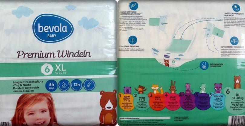 Einzelpack Vorder- und Rückseite der Bevola Baby Premium Windeln Größe 6 XL