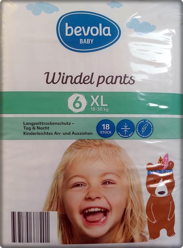 Einzelpack Bevola Baby Windel pants Größe 6 XL Vorderseite