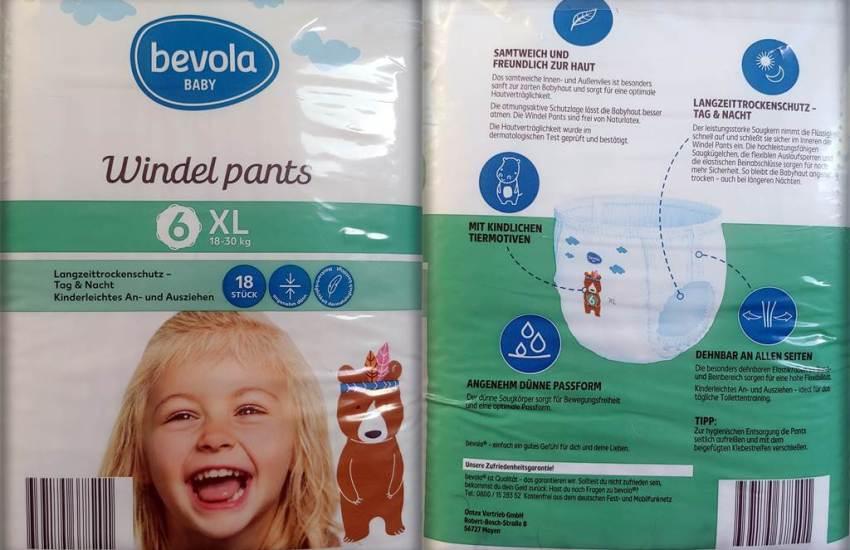 Einzelpack Vorder- und Rückseite der Bevola Baby Windel pants Größe 6 XL