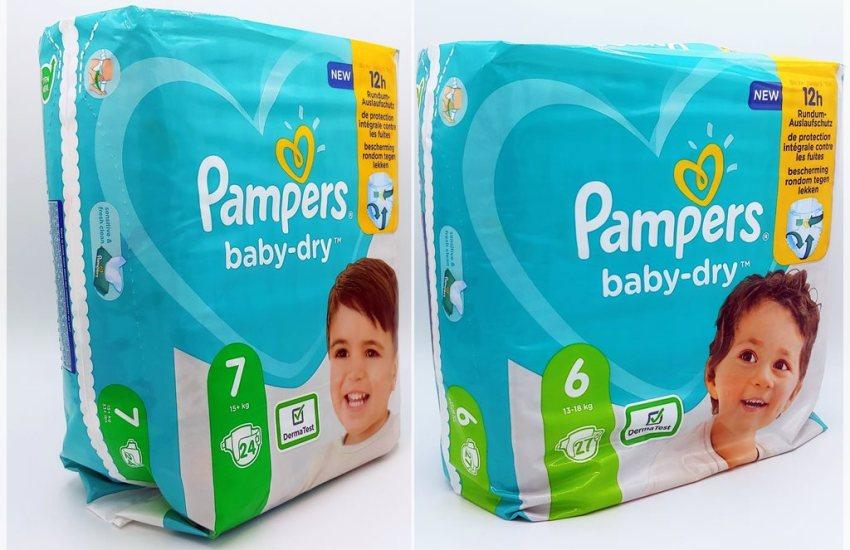 Einzelpack Pampers baby-dry Größe 7 und 6 Cover Vorderseite