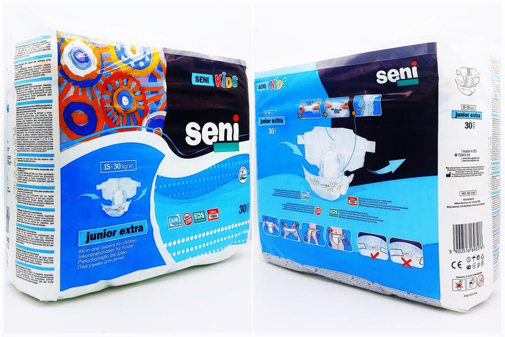 Einzelpack Vorderseite der Seni Kids junior extra Windel