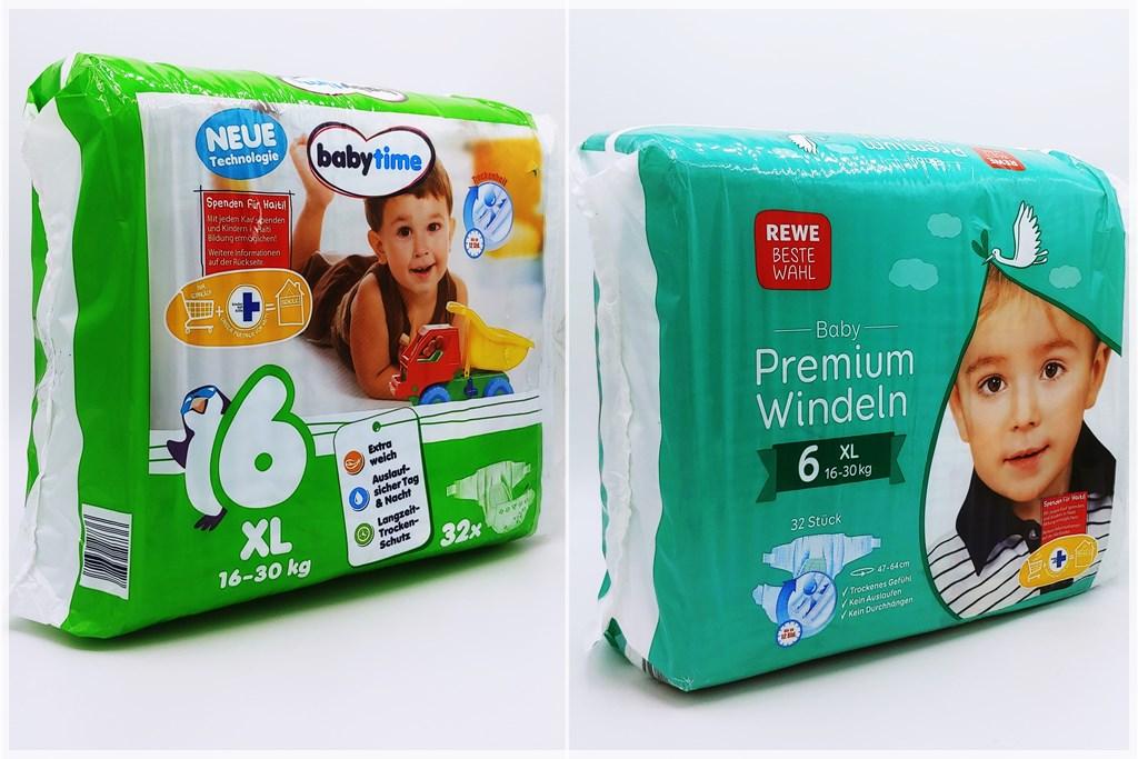 Einzelpackung Vorder- und Rückseite der Babytime und Rewe Baby Premium Windeln Größe 6 XL