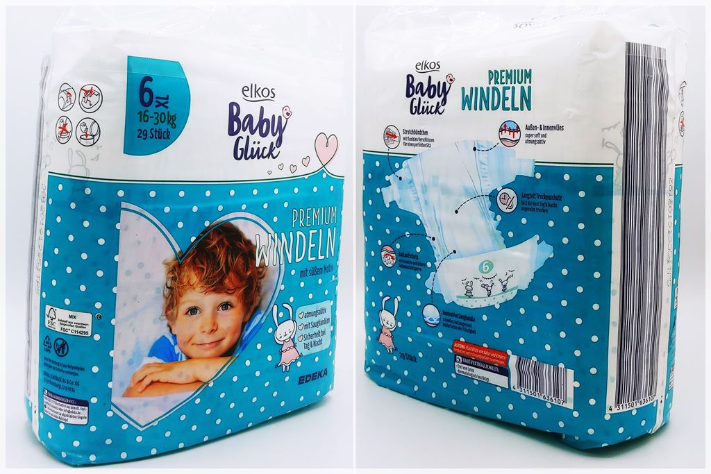 Einzelpackung Vorder- und Rückseite der Elkos Baby Glück Premium Windeln 6 XL