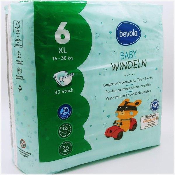 Einzelpackung Bevola Baby Windeln Größe 6 XL Cover Vorderseite