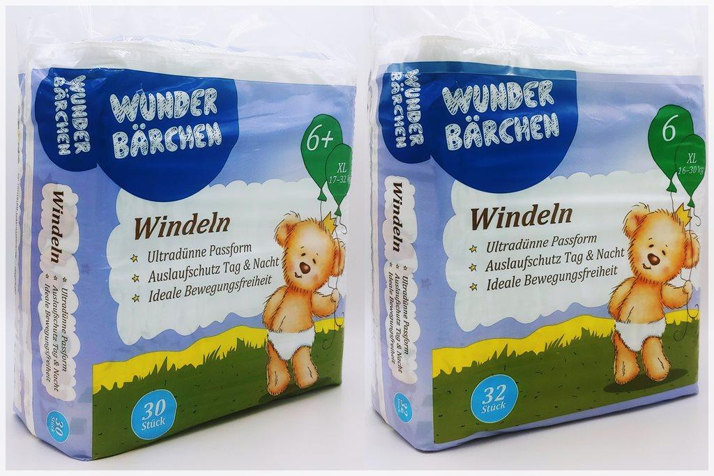Einzelpackung Vorderseite der Wunderbärchen Windeln Größe 6+ XL und normale Größe 6 XL