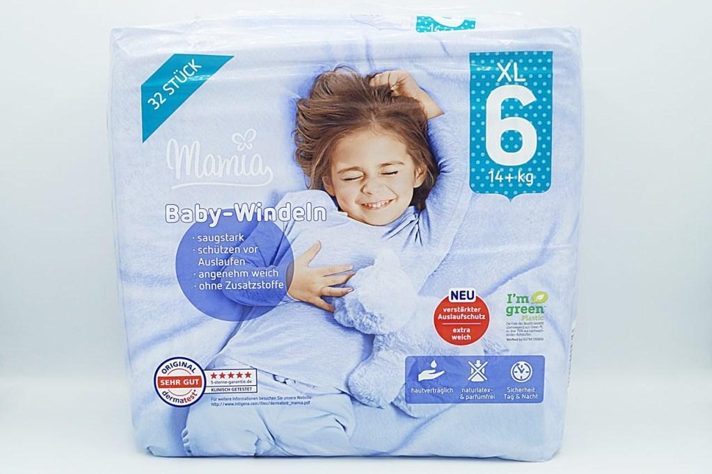 Cover der Mamia Baby-Windeln Größe 6 XL