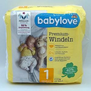 Verpackungsvorderseite der Babylove Windeln Größe 1 im Test der Windeln für Neugeborene