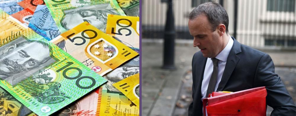 Australian dollar, British pound news and forecast Brexit Dominic Raab