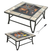 Ceramic Tile Fire Pit With Grill | Fire Pit Design Ideas