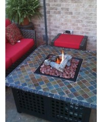 Square LP Gas Fire Pit With Slate Mantel | Fire Pit Design ...