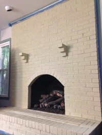 Distressed Painted Brick Fireplace | Fireplace Designs