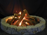 Burning Fire Pit. Fake Logs Gas Fireplace Fireplace ...