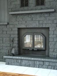 Gray Painted Brick Fireplace | Fireplace Designs