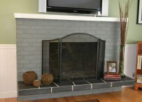 Grey Painted Brick Fireplace | Fireplace Designs