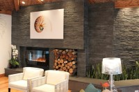 Modern Stacked Stone Fireplace | Fireplace Designs