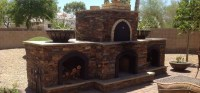 Outdoor Stone Fireplace With Pizza Oven   Fireplace Designs