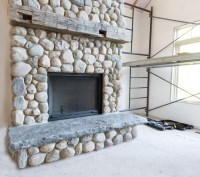 River Rock Stone Fireplace | Fireplace Designs