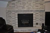 Whitewash Red Brick Fireplace | Fireplace Designs