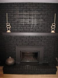Black Painted Brick Fireplace | FIREPLACE DESIGN IDEAS