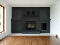 Gray Painted Brick Fireplace | FIREPLACE DESIGN IDEAS