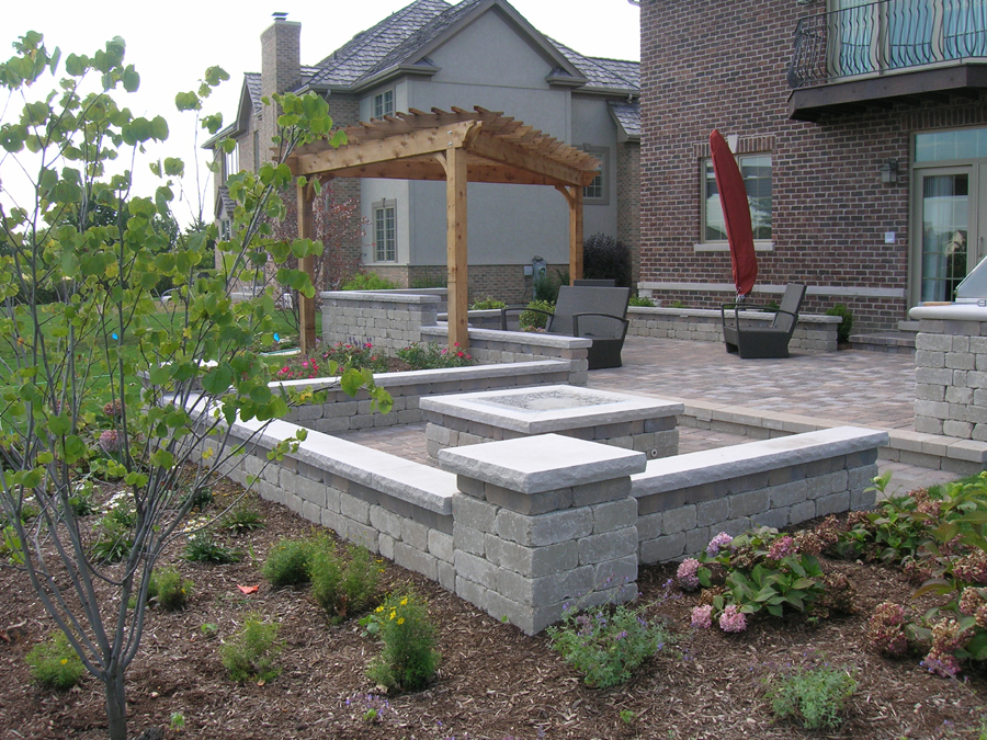 paver patio with fire pit fireplace
