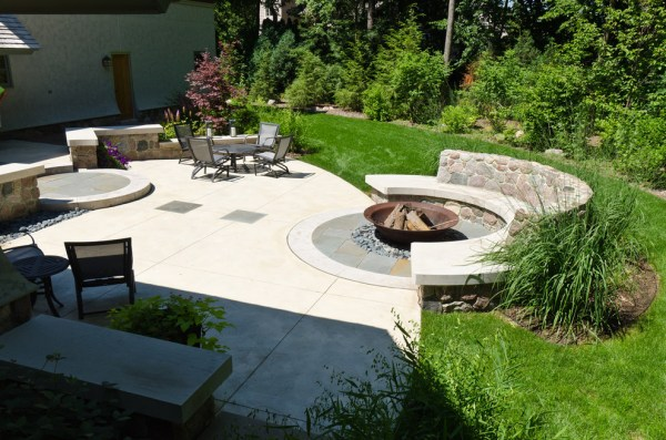 backyard with fire pit landscaping