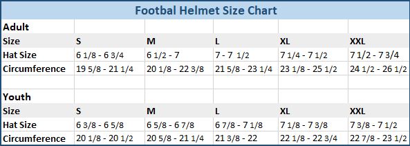 Football helmet size chart