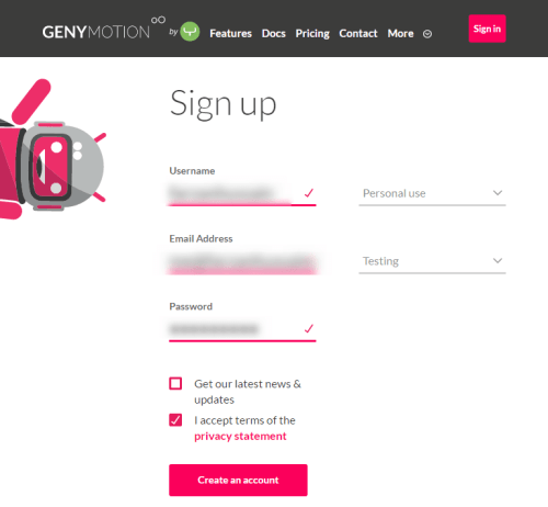 GenyMotion Android Emulator - Create Account - Android Apps On PC