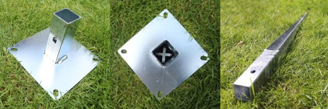 Patented Cruci-Lock™ Technology: modular enclosure post fixtures which can be used on hard or soft ground