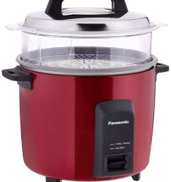 this burgundy electric rice cooker with a clear steaming basket is a must for every kitchen it also has a higher cooking capacity best for big families  [ 1260 x 1500 Pixel ]
