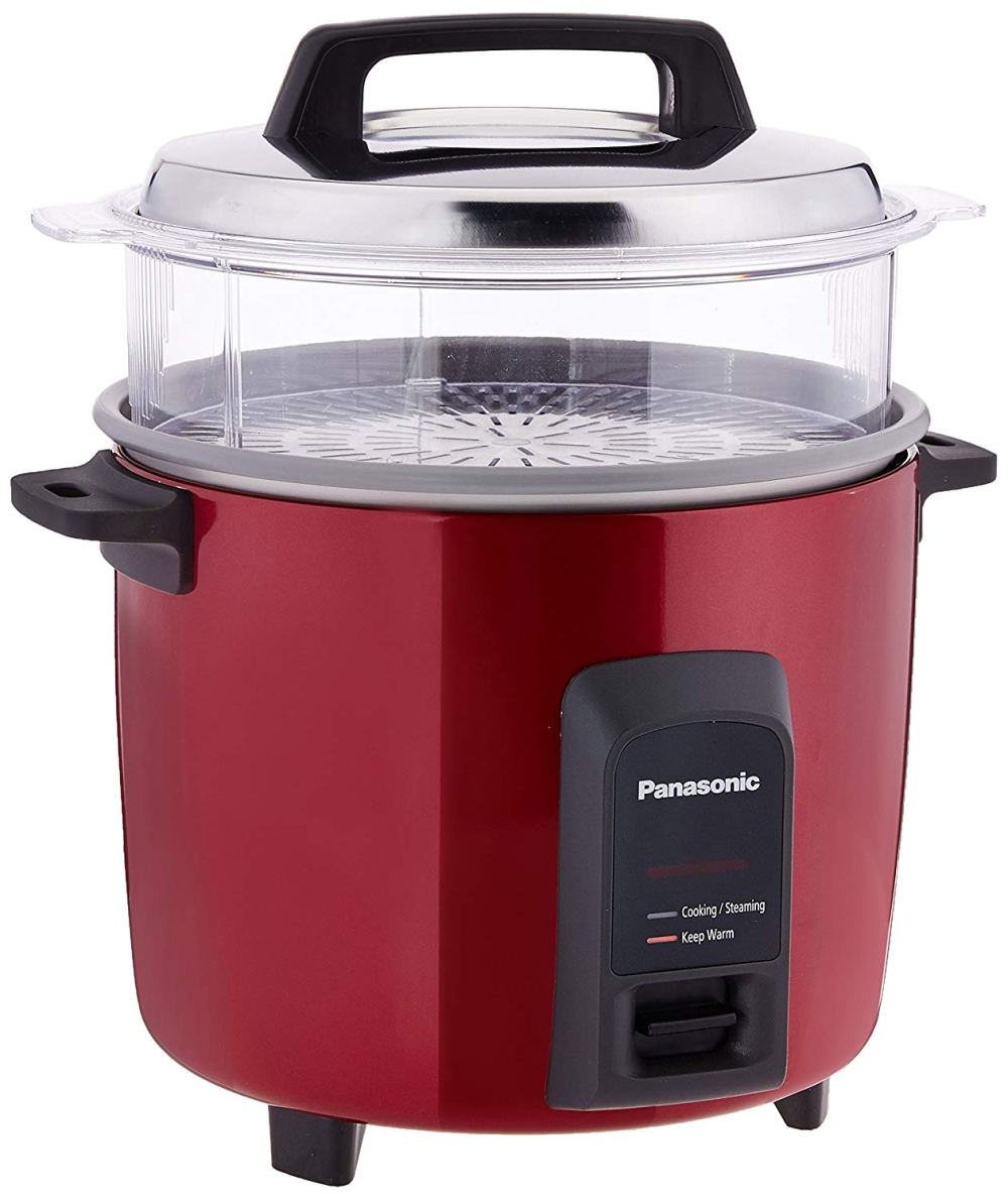 medium resolution of this burgundy electric rice cooker with a clear steaming basket is a must for every kitchen it also has a higher cooking capacity best for big families