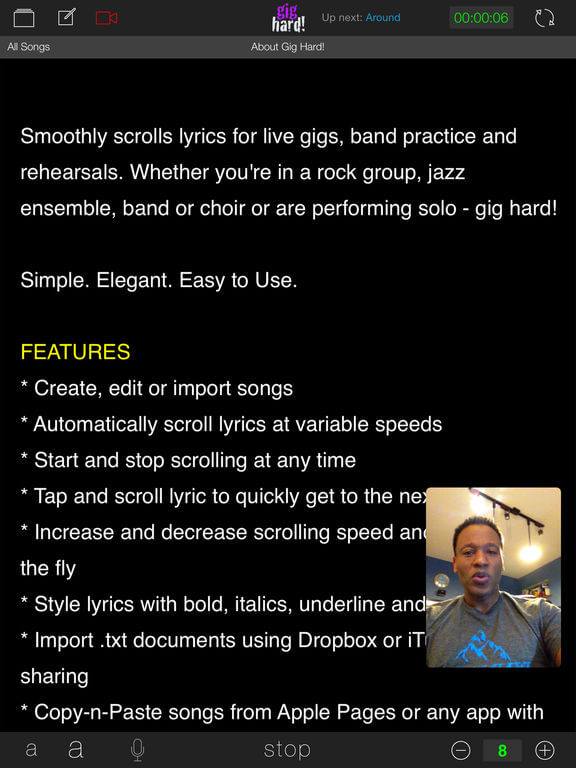 Download Scrolling Lyrics App for iPad