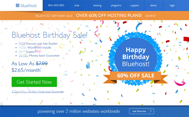Bluehost Birthday Sale: 65% OFF Web Hosting + Free Domain [July 2018]