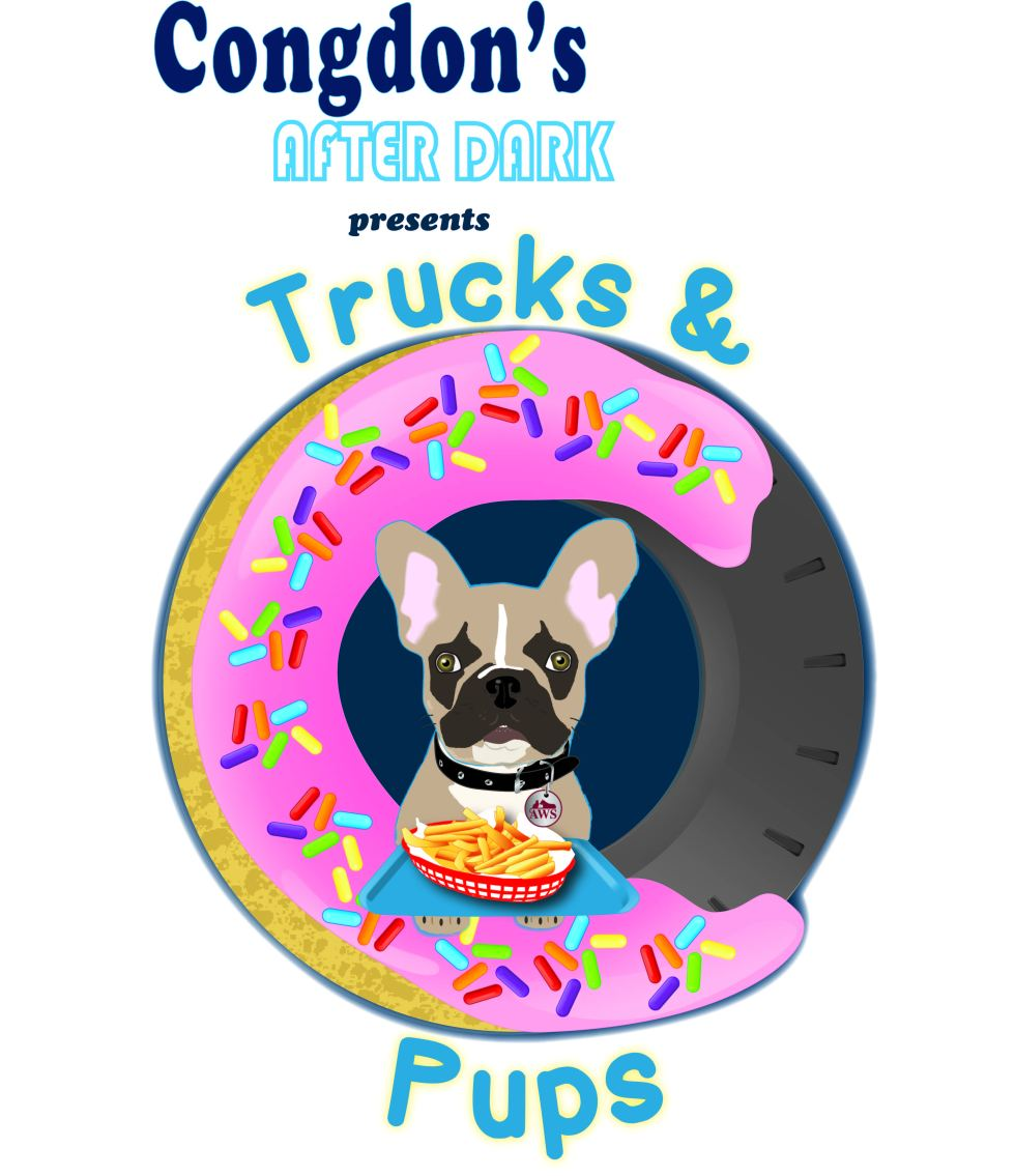 Pups and Trucks Event Logo for Congdon's and Animal Welfare Society of the Kennebunks