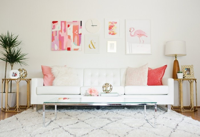 Pink Gold Living Room. Melissa Johnson S Modern Living Room Makeover Best  Friends For Part 19