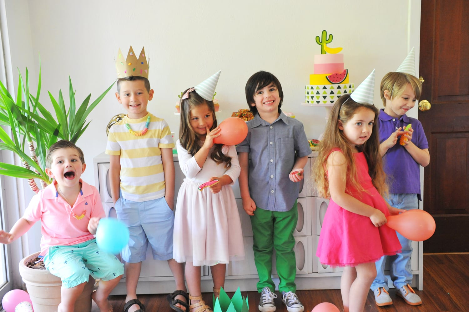 Colorful Modern Cactus Amp Fruit Kids Party