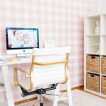 Modern Office Chic Office With Gingham Wallpaper