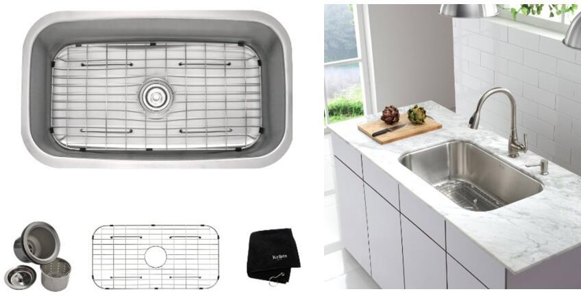 kitchen disposal aid refrigerator parts install best quiet in under sink garbage grinders kraus kbu14 31 1 2 inch undermount single bowl 16 gauge stainless steel